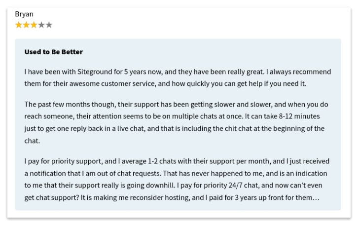Comments about Siteground's Customer Support #2